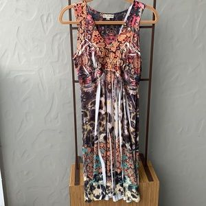 Live and Let Live Multi Color Silky Dress Medium